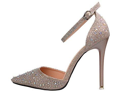 Wealsex Escarpins Sandales Strass Bride Cheville Boucle Talons Haute Aiguilles Bout Pointu Chaussure Mariage Princesse Or