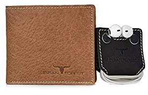Urban Forest Gift Hamper - Classic Redwood Colored Men's Leather Wallet and Dark Brown Earphone Organiser