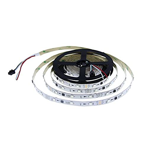 ALITOVE 16.4ft WS2811 5050 RGB 5M 150 SMD Digital Magic Color LED Flexible Strip Rope Light Not Waterproof 12V White PCB for Xmas home garden and commercial area Decoration
