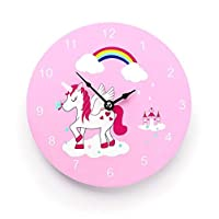 Mousehouse Gifts Kids Girls Unicorn working wooden wall clock