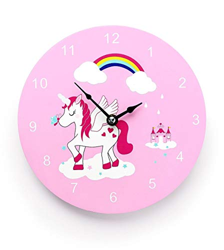 Mousehouse Gifts - Reloj de pared infantil- Madera - Temática unicornios