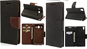 Generic 2 Mercury Dairy Flip Cover Combo For Sony Xperia Z3 Brown With Black