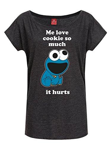 Sesame Street Me Love Cookie Maglia donna grigio scuro S