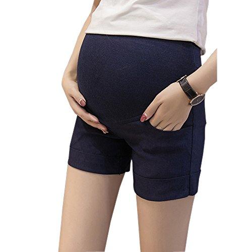 ZEVONDA Suelto Corto Pantalones de Verano Mujer Embarazadas Estiramiento Maternidad