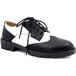 Maxmuxun - Zapatos con cordones estilo oxford para mujer, color multicolor, talla 39 EU