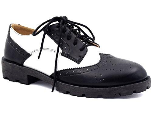 MaxMuxun Damen Oxford Schnürhalbschuhe Schwarz und Weiß