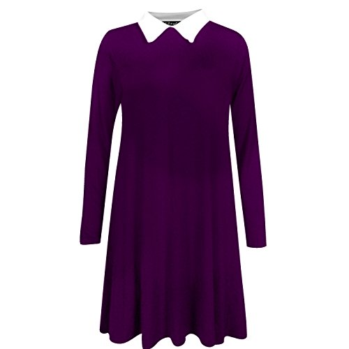 Fashion 4 Less - Robe - Swing - Manches Longues - Femme Violet