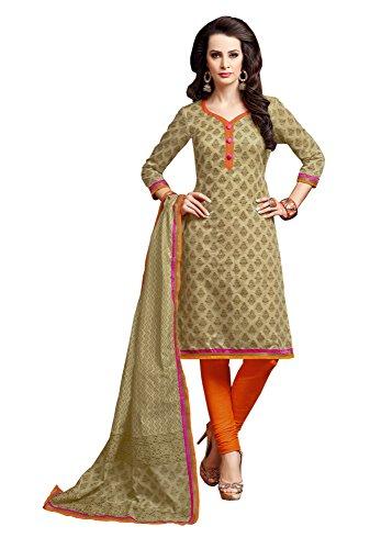 Khushali Presents Printed Chanderi Chudidar Unstitched Dress Material(Cream,Orange)