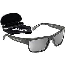 Cressi Ipanema Occhiali da Sole Classici - Filtro polarizzante Protezione UV 100%, Nero/Lenti specchiate Grigie