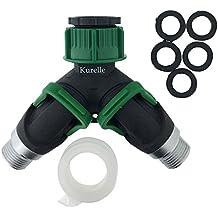 """Connettore per tubo flessibile da giardino a """"Y"""", a due vie, a marchio Kurelle, spruzza l'acqua in due direzioni opposte, antiscivolo, struttura resistente con due valvole di arresto, Adatto per uscite da 20mm(3/4″) & 25mm (1″)."""