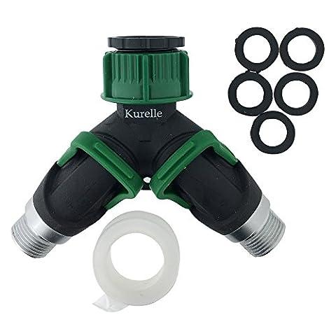 Raccord de Tuyaux avec Valve Y à 2 Sorties par Kurelle, Ultra résistant, il sépare l'eau en 2 directions opposées, antidérapant, robuste avec double valve de fermeture, convient aux embouts de 20mm & 25mm. (2