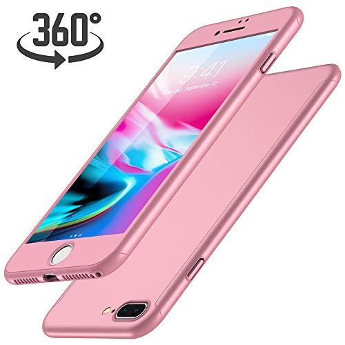 Luckydeer  iPhone 7 Plus Handyhülle 360 Grad Komplett Schutz, Rose Gold, 5,5 Zoll