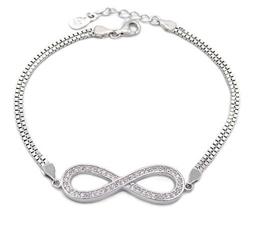 78795f0ff0575 Armband Infinity 925 Sterling Silber rhodiniert 47 Zirkonia 19cm lang  Eternity Unendlich Silberkette Silberarmband Armkette Armkettchen