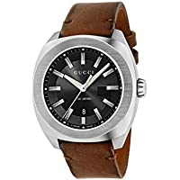 Gucci GG2570 Date Leather Strap Mens Watch (Brown/Black)