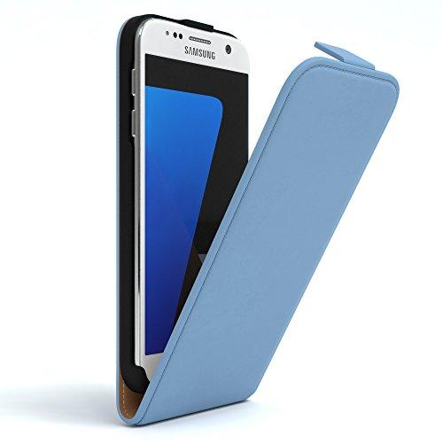 Samsung Galaxy S7 Hülle - EAZY CASE Premium Flip Case Handyhülle - Schutzhülle aus Leder zum Aufklappen in Anthrazit Hellblau