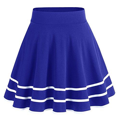 Bridesmay Jupe Patineuse Courte Mini en Polyester Plissée RoyalBlue-White S