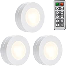 Leoie 3pcs LED Puck Lights, Self-Stick Under Cabinet Light,Remote Control Closet Light, Battery Powered Super Bright Dimmable Light