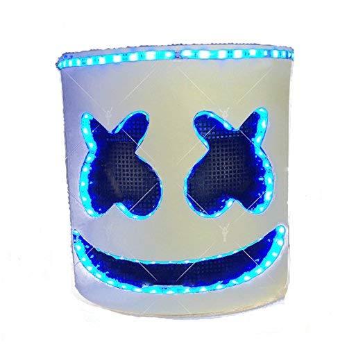 unbrand DJ Marshmello Maske Cosplay Kostüm Helm Vollkopf Latex Maske Kostüm für Erwachsene Halloween Zubehör Merchandise