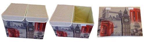 GMMH Aufbewahrungsbox 47x31x34 cm mit Deckel Lein Paris Rom England London Kiste Organizer (London)