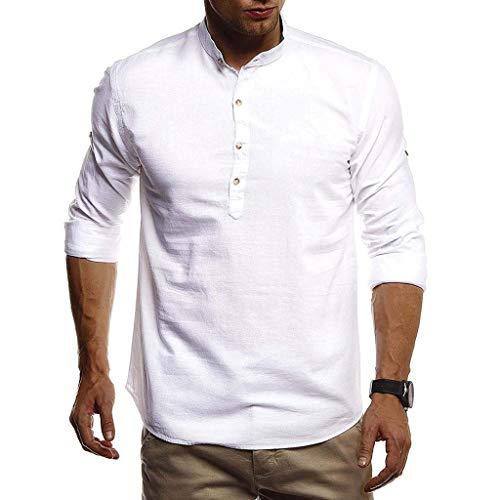 UFACE Herren Herbst Winter T-Shirt Baumwolle Leinen Thai Hippie Hemd V-Ausschnitt Strand Yoga Top Bluse Hemd Weste Sweatshirt Baumwollshirt Longshirt Ärmellos Playsuit