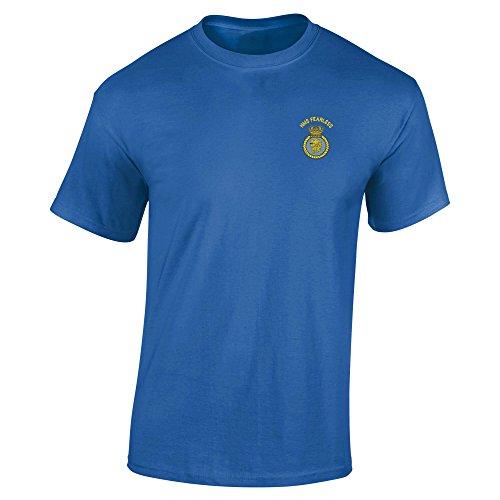 HMS FEARLESS bestickt T-Shirt Königsblau