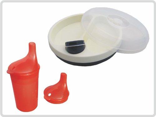 Schnabelbecher/ Trinkbecher mit Deckel für Tee und Brei, langes Mundstück, Farbe: ROT + Warmhalteteller mit Deckel *Top Qualität zum Top Preis*
