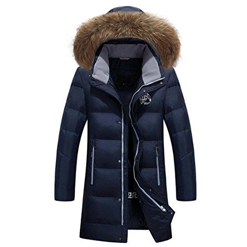 NJJSR Mode Winter Jacke Herren Mantel Kleidung Duck Down Jacket Men mit Kapuze Pelz Kragen, Blau, XXXXL Mens Winter Down Mantel