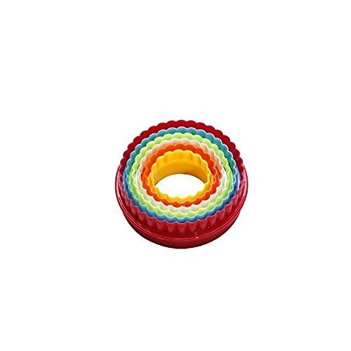 Ausstechformen-Set, 5-teilig, runde Form, bunt, Kunststoff, Keksausstecher zum Backen, für Sandwiches, Kuchen und Desserts (runde Form)