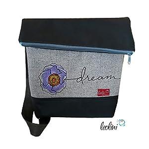 Foldover Tasche Blumen Dream Mädchen Stickerei handmade Foldovertasche mit Außenfach