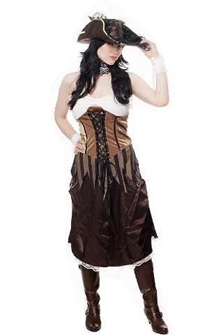 Kostüm Damen Damenkostüm Aufwändiges Set Sexy Piratin Piratenbraut Freibeuterin Seeräuberin L051 Gr. (Jenny Halloween-kostüm)