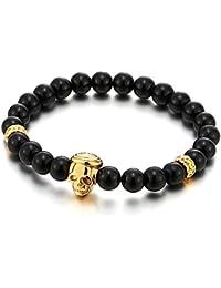 8MM Perla Pulsera de Negro Ónix Perlas con Acero Color Oro Cráneo Encantado, Brazalete de Hombre Mujer, Prayer Mala
