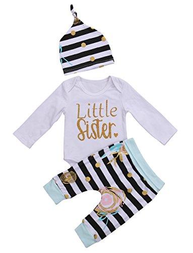 Kleinkind Baby Mädchen Little Sister Kleidung Spielanzug Oberseite + gestreifte Blumenhosen + Hut 3pcs Ausstattung (0-3 Monate, A) (Neugeborenen Ausstattung)