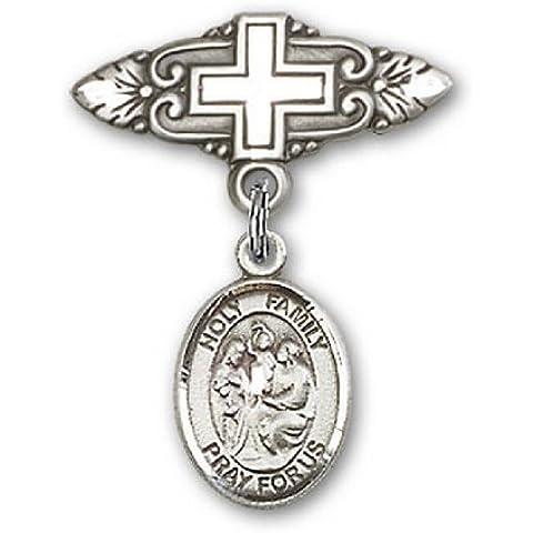 Icecarats Designer Di Gioielli In Argento Sterling Perno Sacra Famiglia Fascino Distintivo Con Croce 1 X 3/4