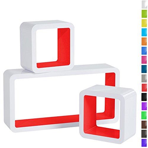 WOLTU RG9229nrt Wandregal Cube Regal 3er Set Bücherregal Regalsysteme, Retro Hängeregal Würfel, Weiß-Rot (Regal Bücherregal)