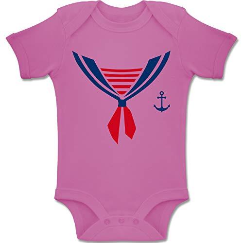 Für 2 Gruppe Paare Kostüm - Shirtracer Karneval und Fasching Baby - Seefahrer Kostüm Halstuch - 1-3 Monate - Pink - BZ10 - Baby Body Kurzarm Jungen Mädchen