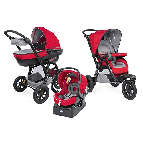 Chicco Trio Activ3 Top - Sistema Modulare con Car Kit, Rosso (Red Berry)