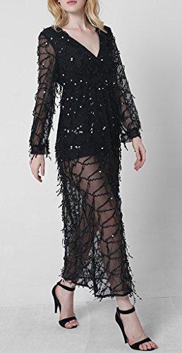 Bigood Robe Longue Femme Tulle Paillette Robes Cocktail Soirée Mariage Fendue Sexy Col V Manche Longue Noir