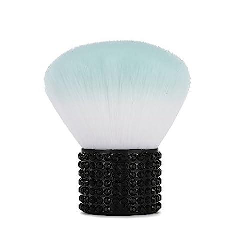Miss Gorgeous Synthetic Kabuki Makeup Brush with Short Black Rhinestone Metal Handle, Portable Mini Face Brush, Brush Blush Powder Foundation,Super Soft, Size 6.5x5cm