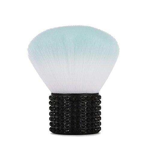 Miss Gorgeous Brosse Cosmétique de Pinceau de Maquillage de Kabuki, Mini Balais Portatifs de Maquillage avec la Poignée en Métal Courte Noire de Strass, Vert