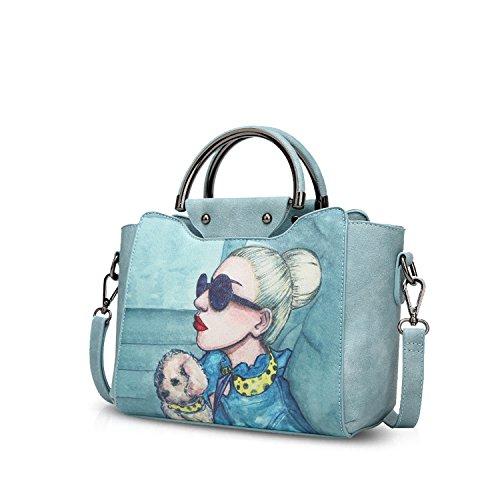 NICOLE&DORIS Elegant Stilvoll Damen Handtaschen Tote Umhängetasche Crossbody Bag Schultertaschen Henkeltaschen Klein Tasche PU Hellblau