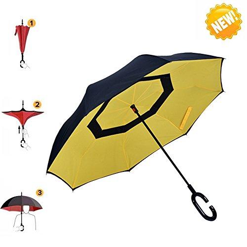 Umbrella, AIGUMI Impermeabile Pieghevole Ombrello Multifunzionale (Giallo + Nero)