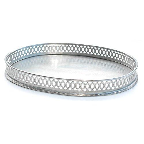 Tablett Silber Oval Metalltablett Antik Landhaus Handarbeit Exner Iride 28 cm