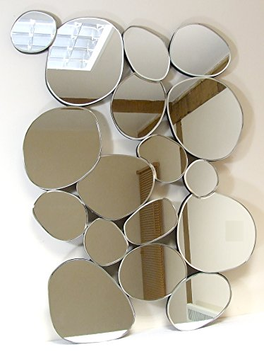 Sten Unique Design Layered Pebbles Modern Glass Mirror - 35in x 26in