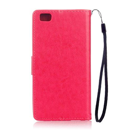 Huawei P8 Lite Cover Case HuaForCity® Portafogli Custodia in Pelle PU Copertina con Slot per schede Magnetica Flip Chiusura Stile del Libro Supporto Funzione Bumper Caso for iphone Huawei P8 Lite Red