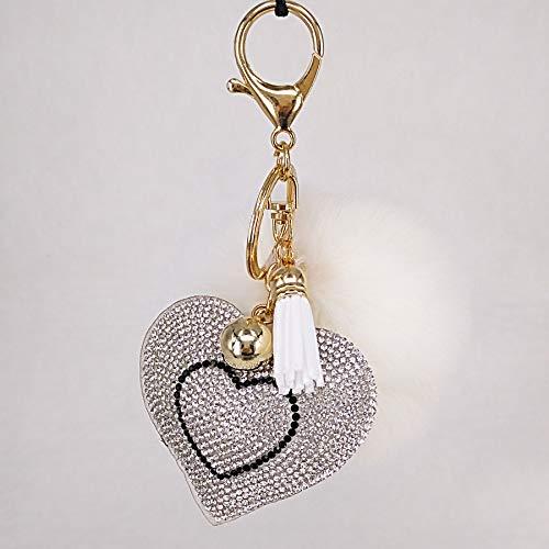 YYHMHMH Fransen Pfirsich Herz Haarkugel Schlüsselanhänger Anhänger Nachahmung Kaninchen Haarkugel Korean Samt Liebe Herzförmigen Diamanten Hängen Ornamente Weiß 8Cm - Fransen Herz