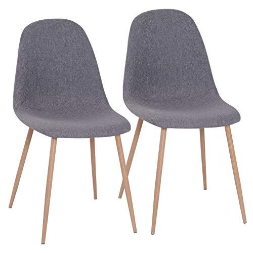 HOMCOM 2er-Set Esszimmerstuhl Küchenstuhl Polstersessel Leinen Sessel Metallbeine Grau 54 x 44,5 x 86 cm