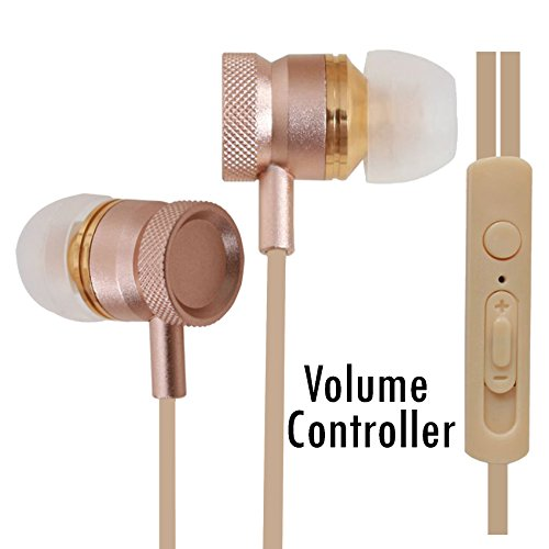 All-Metal Volume Control Bass Earphones Compatible For Micromax Joy F145 -Gold  available at amazon for Rs.340