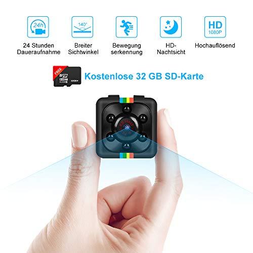Binken Mini Kamera, Mini Cam Kamera Full HD 1080P Tragbare Überwachungskamera Kleine Nachtsicht und 32G SD Card für Zuhause Büro Garten Garage Indoor Outdoor Kamera (Kostenlose 32 GB SD-Karte) Kamera Cam