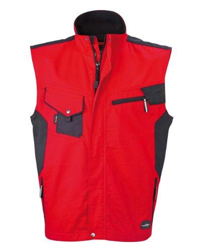 James & Nicholson, Herren, Workwear Vest Cordura Red / Black