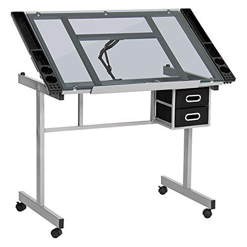 Display4top Table à Dessin pour l'art et l'Artisanat (Acier Enduit de Poudre Robuste et Verre Clair trempé de 6 mm d'épaisseur)